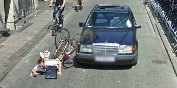 ... on his bike while trying to photograph the Google Street View car