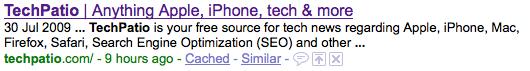 TechPatio meta tag description in google search result